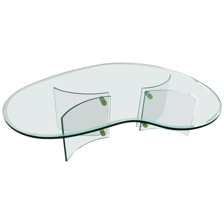 1f5e384a7bf7 Freeform Amoeba Plate Glass Coffee Table with Glass Base For Sale at ...
