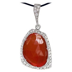"Freeform ""Carnelian III"" Pendant with 1.80 Carats White Diamonds in White Gold"