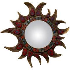 Freeform Gilt Talossel Vallauris Ceramics Sunburt Mirror, 1960s