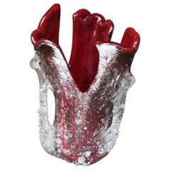 Freeform Murano Macette Vase in Red and Clear Glass, 1950s