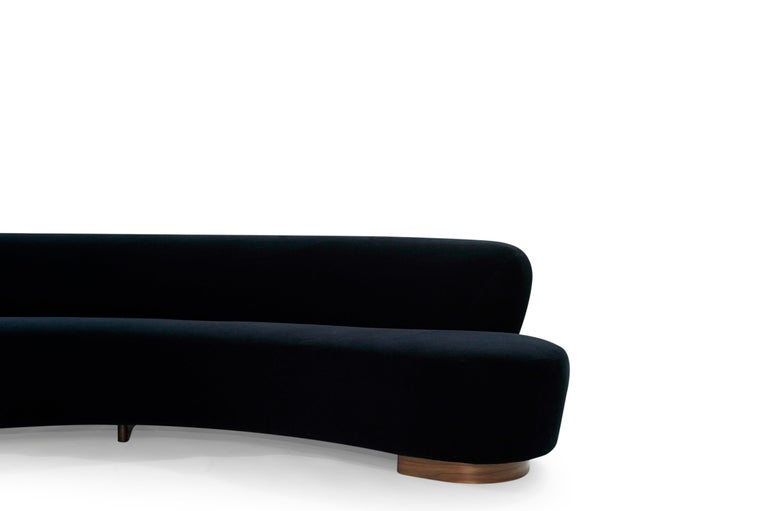 Serpentine Sofa by Vladimir Kagan in Navy Blue Mohair For Sale 5
