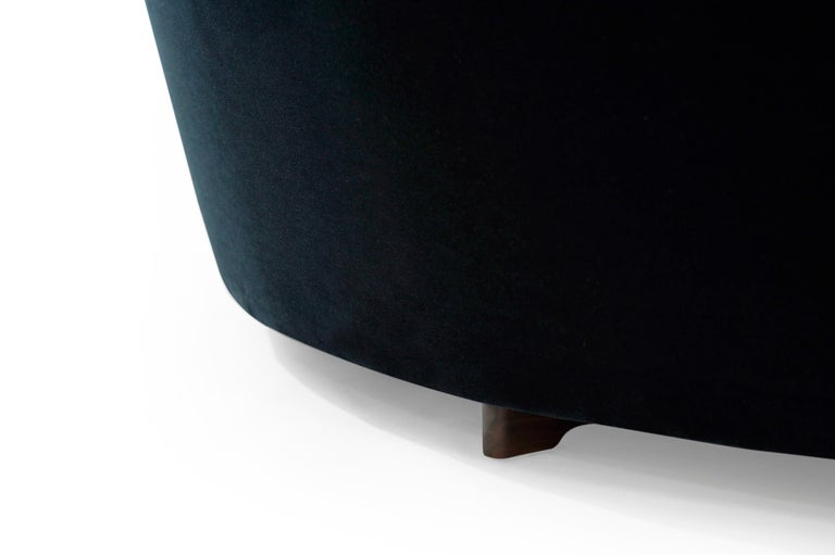 Serpentine Sofa by Vladimir Kagan in Navy Blue Mohair For Sale 10