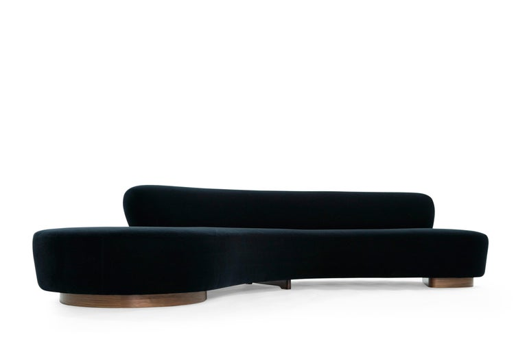 Mid-Century Modern Serpentine Sofa by Vladimir Kagan in Navy Blue Mohair For Sale
