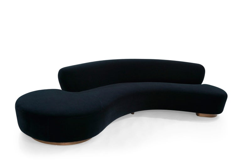 American Serpentine Sofa by Vladimir Kagan in Navy Blue Mohair For Sale