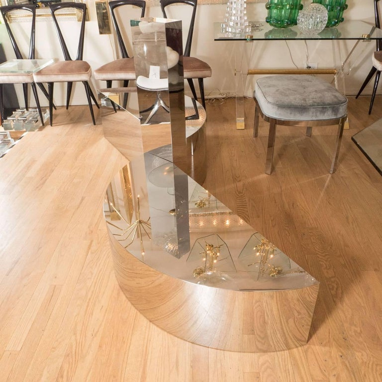 Mid-Century Modern Free-Form Stainless Steel Coffee Table For Sale