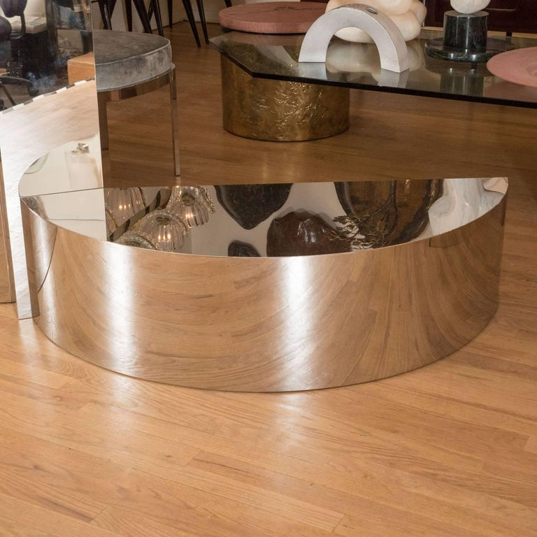 American Free-Form Stainless Steel Coffee Table For Sale