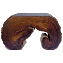Freeform Thick Slab Acacia Wood Console