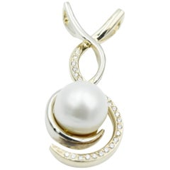 Freeform White and Yellow Gold South Sea Pearl Pendant
