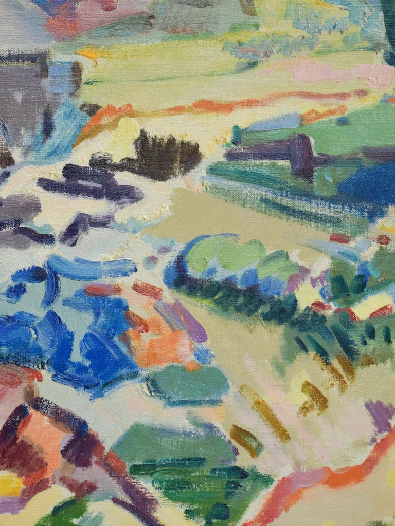 Italian landscape - Oil Paint on Canvas, Fauvist, Dutch Artist, Colorful For Sale 2