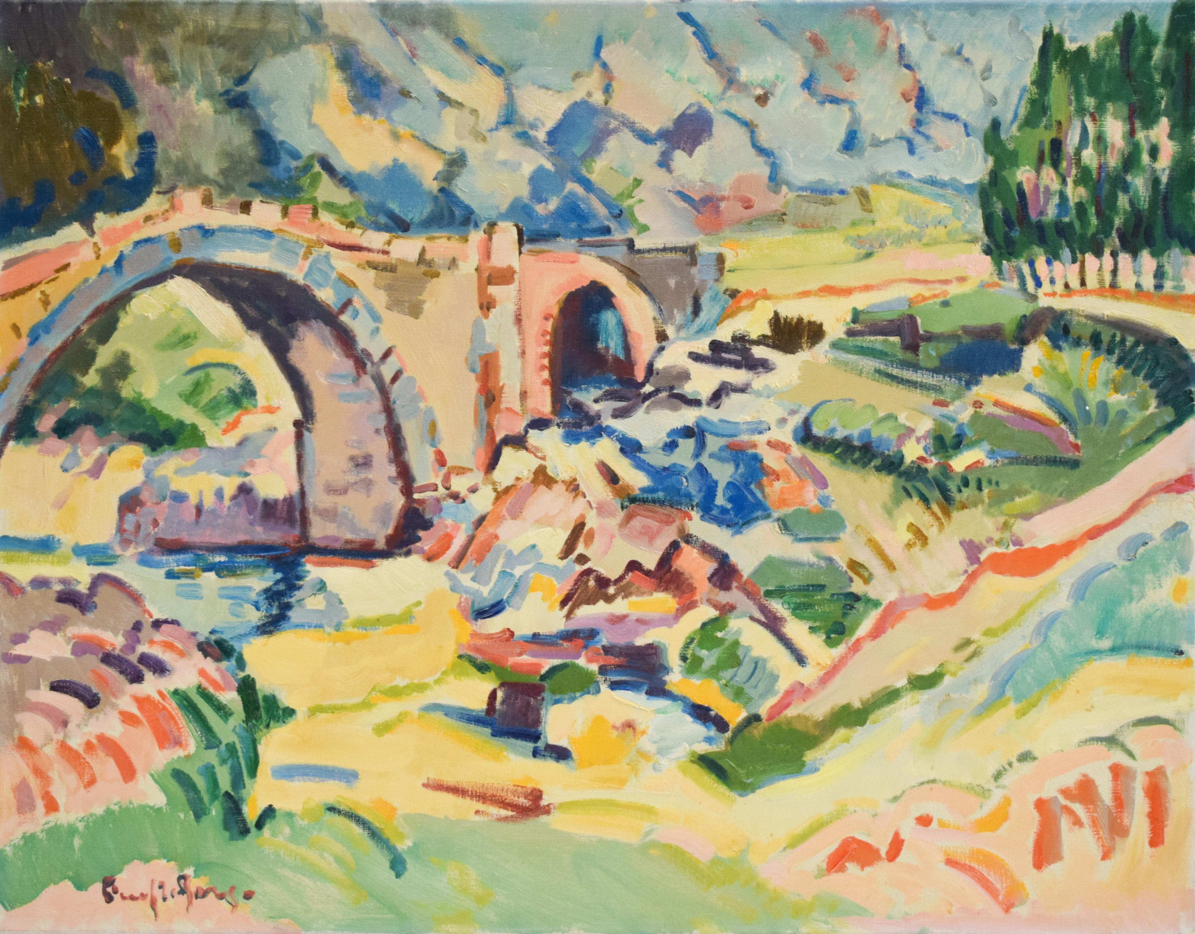 Italian landscape - Oil Paint on Canvas, Fauvist, Dutch Artist, Colorful