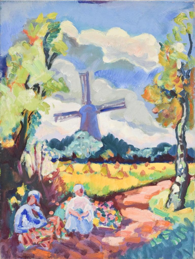 Freek van den Berg Landscape Painting - Landscape with mill - Oil Paint on Canvas, Fauvist, Dutch Artist, Painting