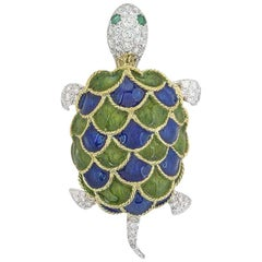 Freely Moving Yellow and White Gold Enamel and Diamond Turtle Brooch