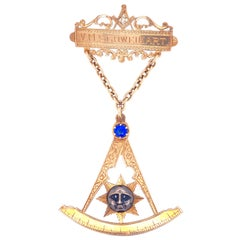 Freemasonry Antique Gold Badge/Pin, Aberdeen Lodge 1927
