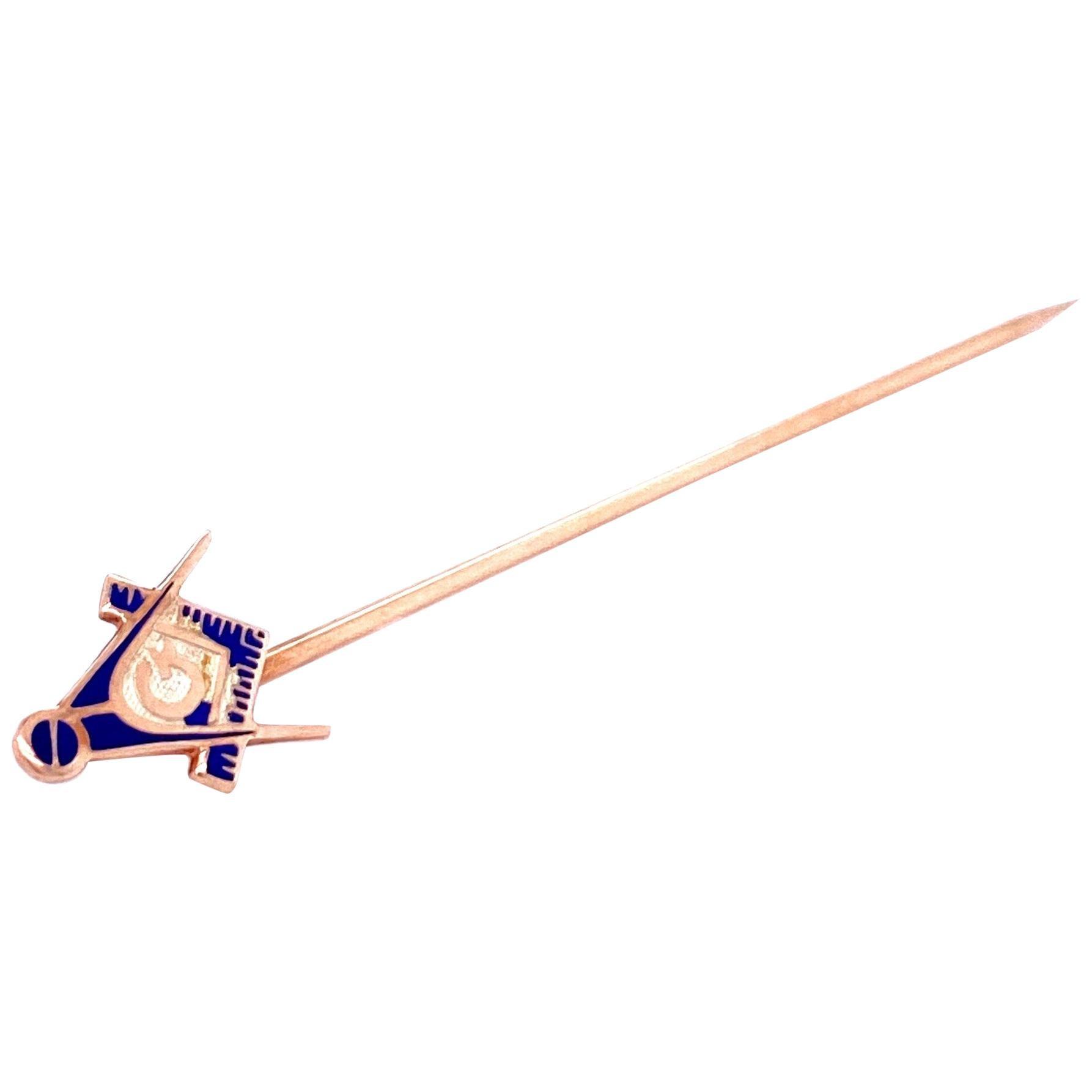 Freemasonry Antique Gold Enamel Pin