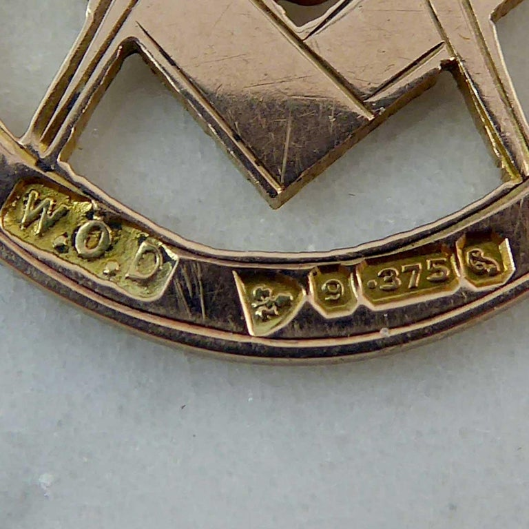 Men's Freemasons' Gold Fob, Hallmarked Chester, 1915 For Sale