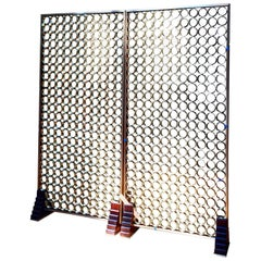 Freestanding Circulum Screen Hand-Fastened with Brass Rings & Wenge & Brass Feet