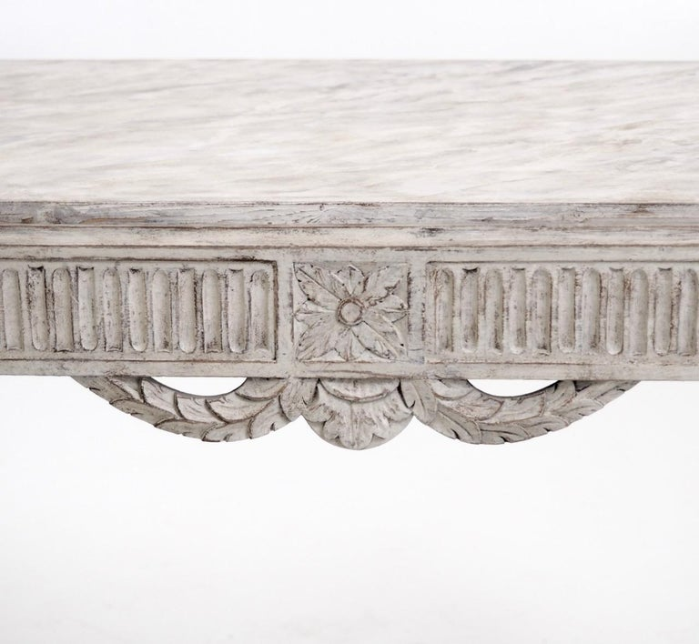 Wood Freestanding Gustavian Style Console Table For Sale