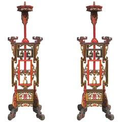 Freestanding Handcarved Chinese Candlestick Holder, Pair