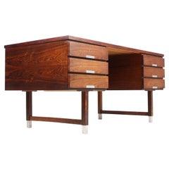 Freestanding Midcentury Desk in Rosewood, Made in Denmark
