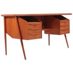 Freestanding Midcentury Desk in Teak, Made in Denmark, 1960s