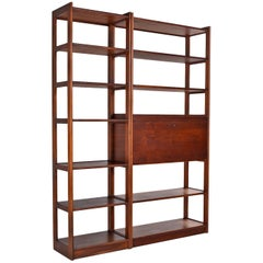 Freestanding Two-Piece Walnut Room Divider Bookshelf
