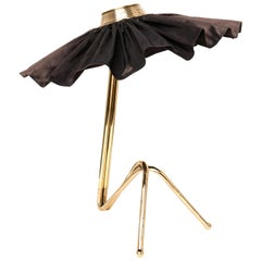 """Freevolle"" Contemporary Table Lamp, Brass Cast Body, Black Taffeta Skirt"
