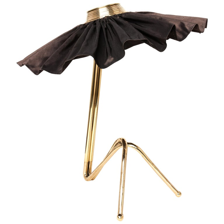 """Freevolle"" Contemporary Table Lamp, Brass Cast Body, Black Taffeta Skirt For Sale"