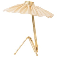 """Freevolle"" Sculpture Table Lamp, Brass, Champagne Silk Skirt"
