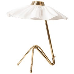 """Freevolle"" Sculpture Table Lamp, Brass, satin white Skirt"