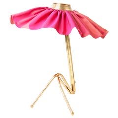 """Freevolle"" Sculpture Table Lamp, Cast Brass Body, Rose Taffeta Skirt"