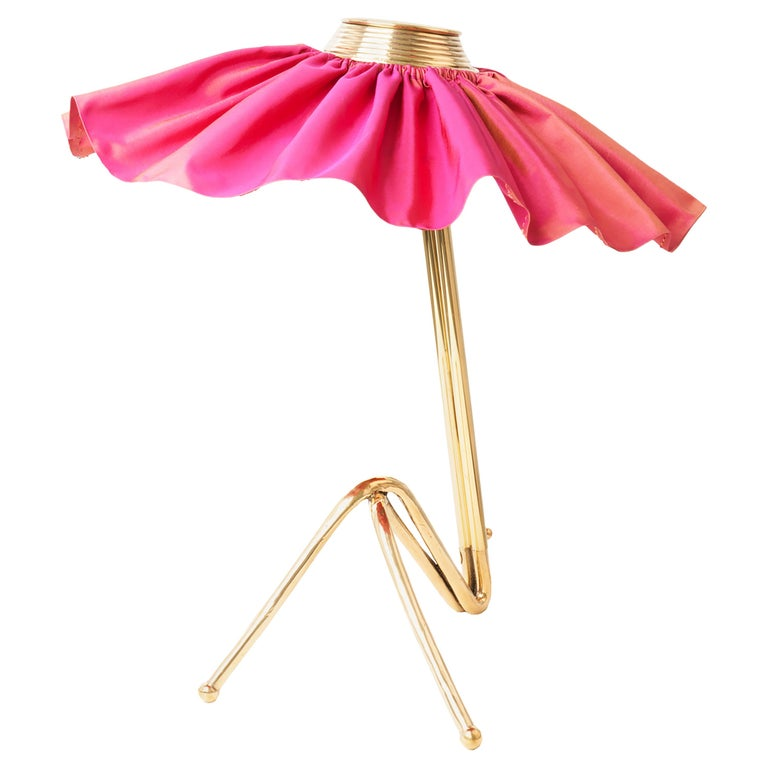 """Freevolle"" Sculpture Table Lamp, Cast Brass Body, Rose Taffeta Skirt For Sale"