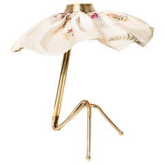 """Freevolle"" Sculpture Table Lamp, Cast Brass, Butterfly Silk Skirt, One-Piece"