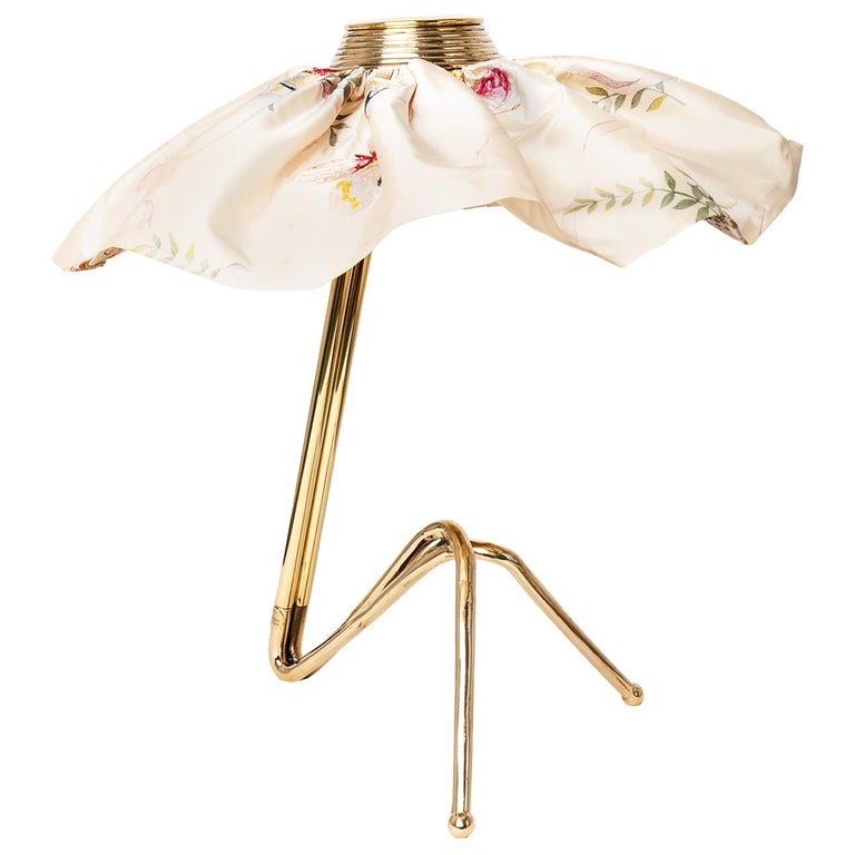 """""""Freevolle"""" Sculpture Table Lamp, Cast Brass, Butterfly Silk Skirt, One-Piece For Sale"""