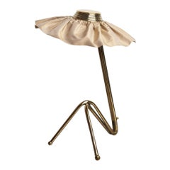Freevolle Sculpture Table Lamp, Handmade Brass Body, Champagne Taffeta