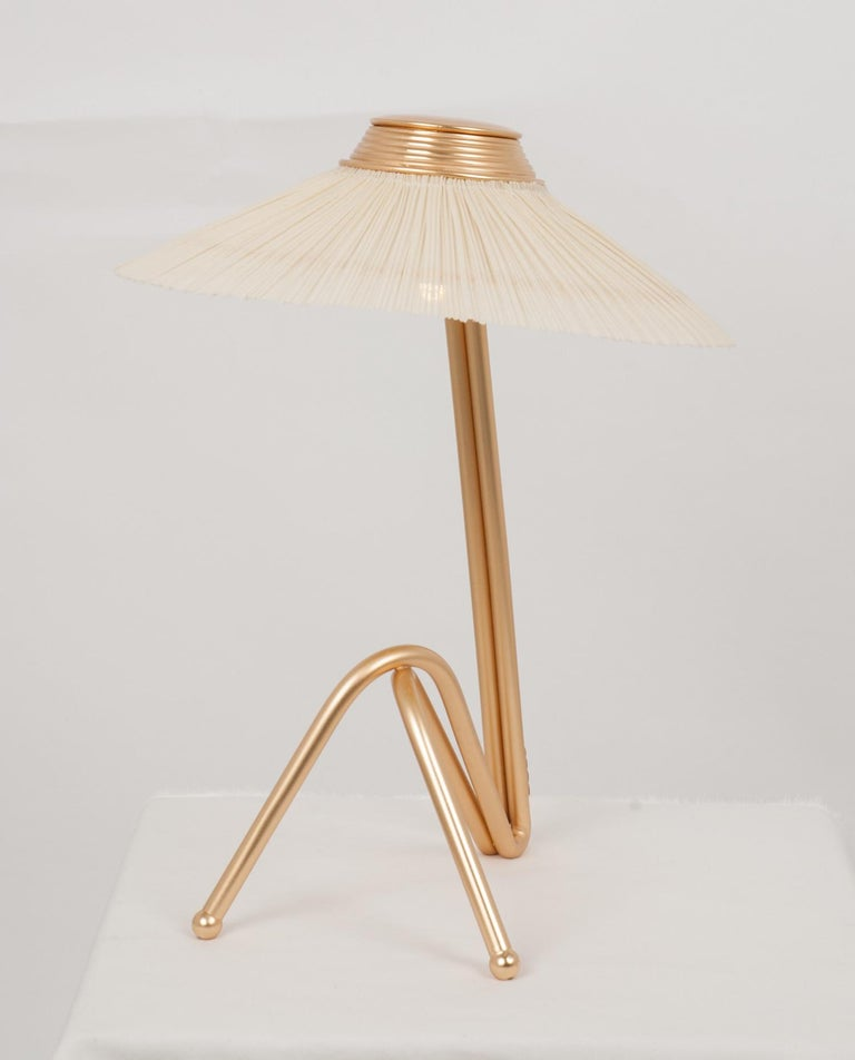 Contemporary Freevolle Sculpture Table Lamp, Handmade Brass Body, Ivory Linen For Sale