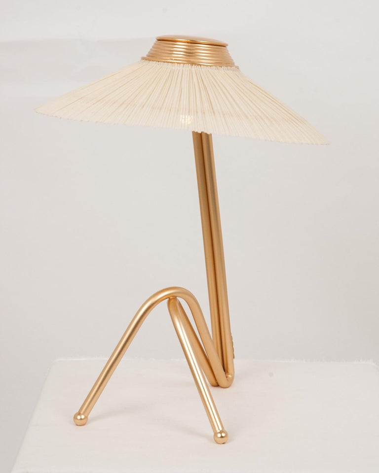 Freevolle Sculpture Table Lamp, Handmade Brass Body, Ivory Linen For Sale 1