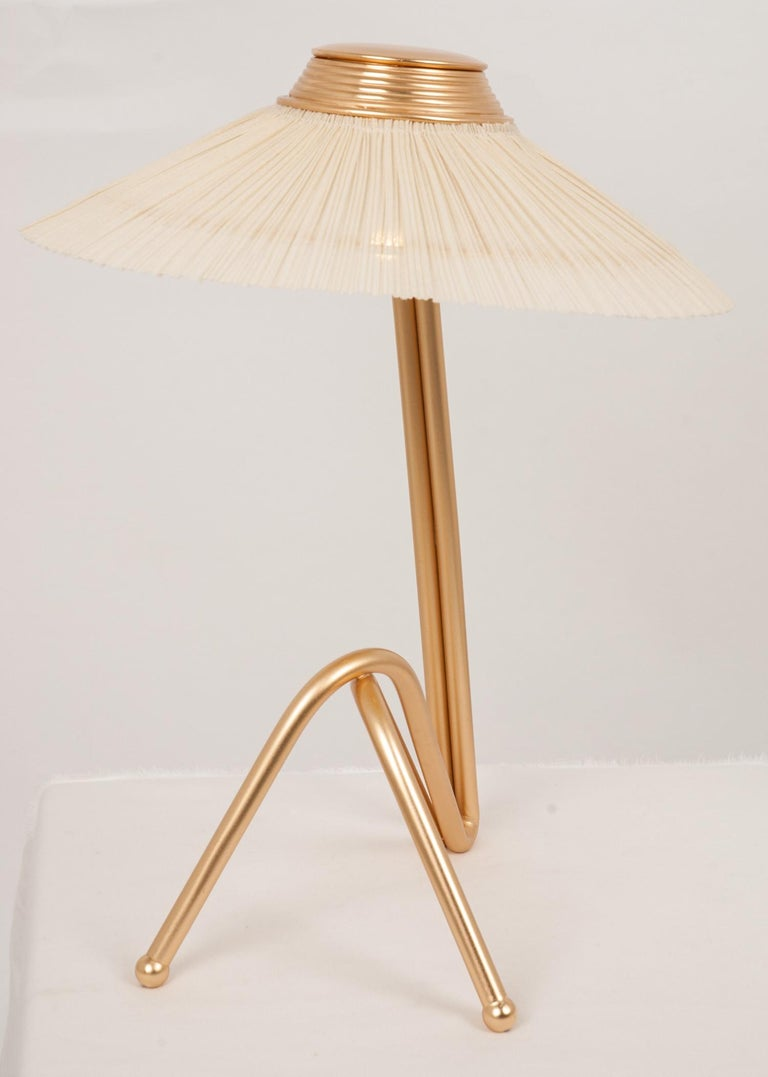 Freevolle Sculpture Table Lamp, Handmade Brass Body, Ivory Linen For Sale 5