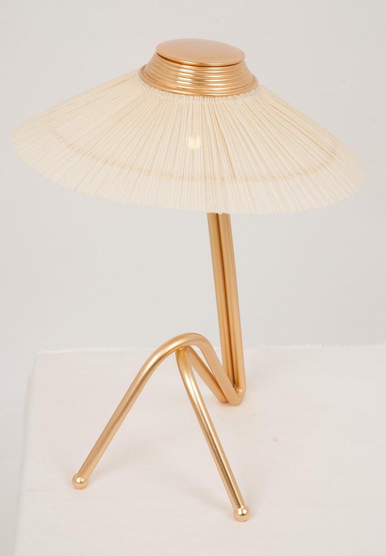 Italian Freevolle Sculpture Table Lamp, Handmade Brass Body, Ivory Linen For Sale