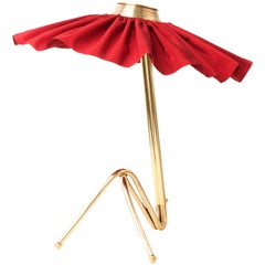 Freevolle Sculpture Table Lamp, cast melted Brass Body, red passion Taffeta