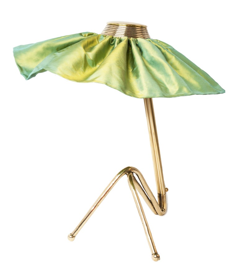 Freevolle Sculpture Table Lamp, cast melted Brass , lime green Taffeta silk In New Condition For Sale In Pietrasanta, IT