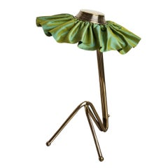 Freevolle Sculpture Table Lamp, Handmade Brass Body, Lime Taffeta