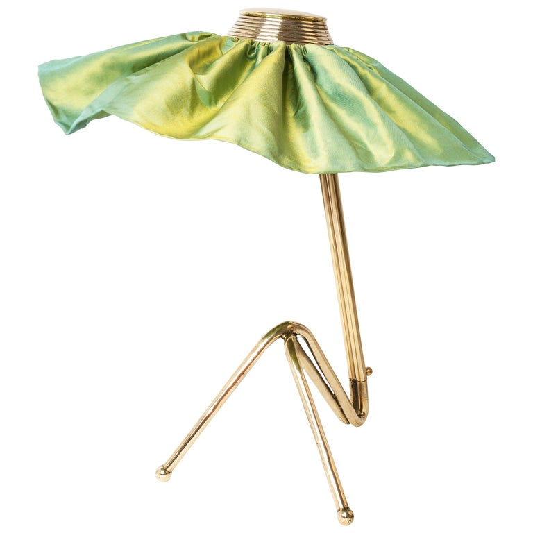 Freevolle Sculpture Table Lamp, cast melted Brass , lime green Taffeta silk For Sale