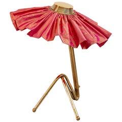 Freevolle Sculpture Table Lamp, Handmade Brass Body, Rose Taffeta