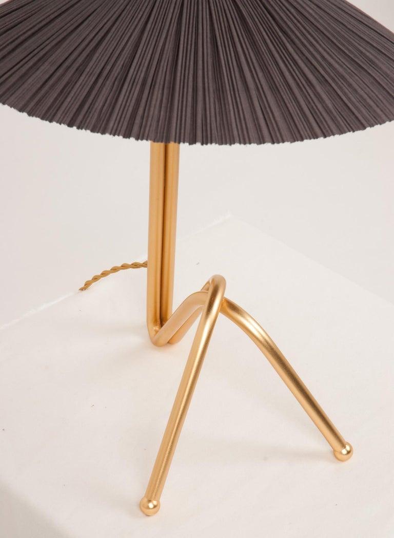 Modern Freevolle Sculpture Table Lamp, Handmade Brass Body, Soft Grey Linen For Sale