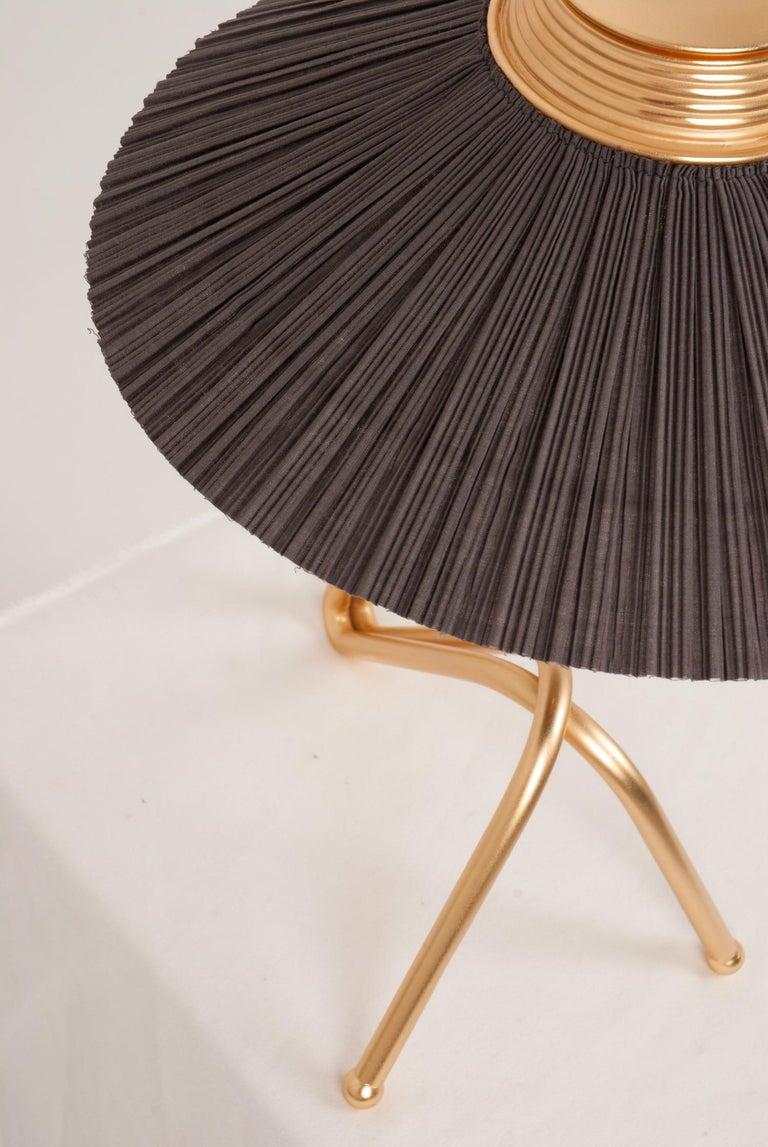 Italian Freevolle Sculpture Table Lamp, Handmade Brass Body, Soft Grey Linen For Sale