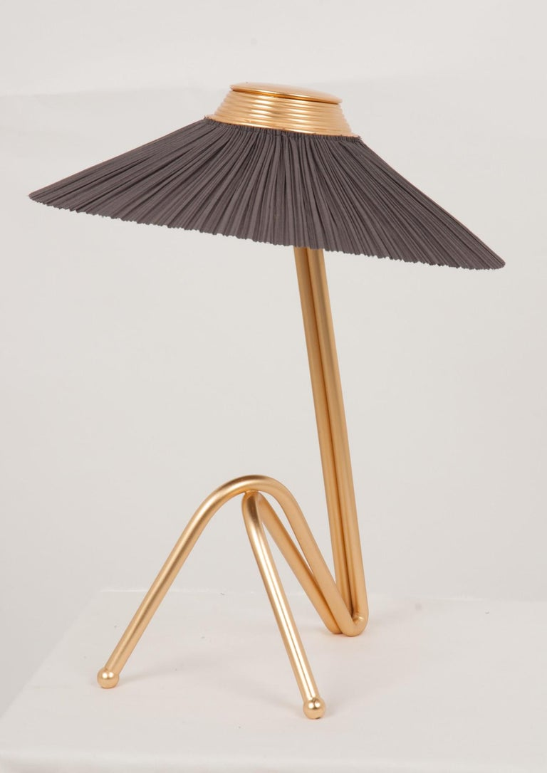 Hand-Crafted Freevolle Sculpture Table Lamp, Handmade Brass Body, Soft Grey Linen For Sale