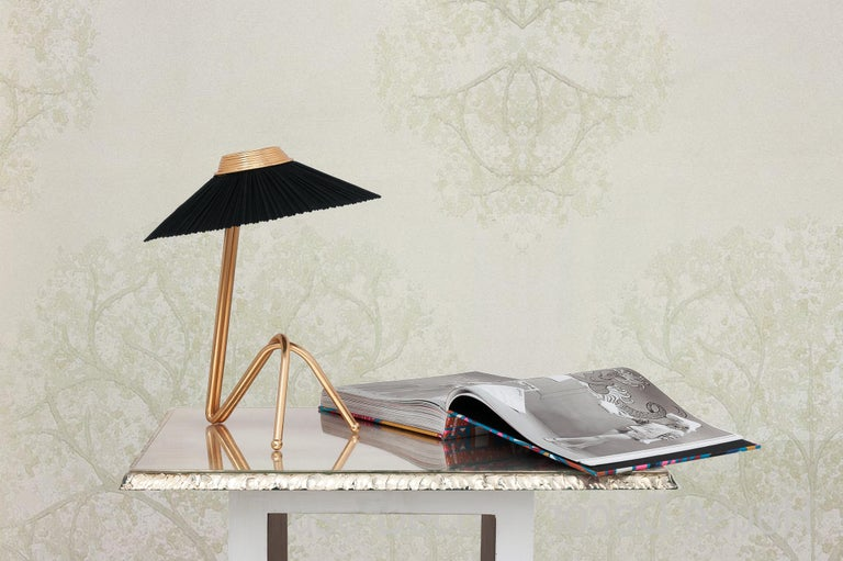 Freevolle Sculpture Table Lamp, Handmade Brass Body, Soft Grey Linen In New Condition For Sale In Pietrasanta, IT