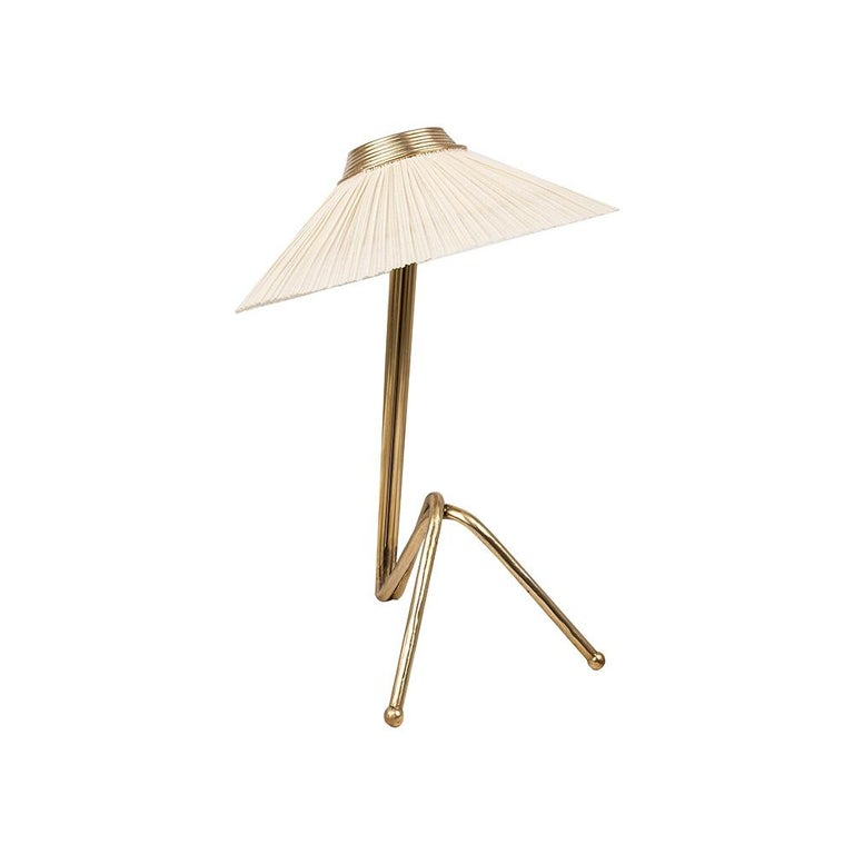 Freevolle Sculpture Table Lamp, Handmade Brass Body, Soft Grey Linen For Sale 2