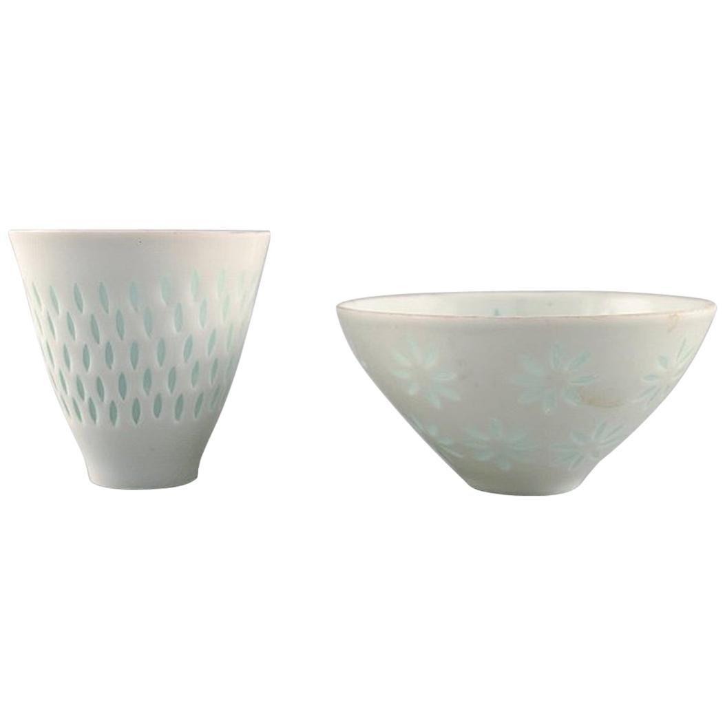 Freidl Holzer Kjellberg for Arabia, Vase and Bowl in Rice Porcelain, 1946