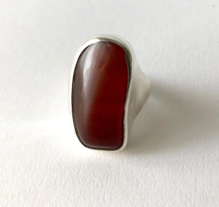 Uncut Fred Skaggs Sterling Silver Amber Arizona Modernist Gentlemens Ring For Sale